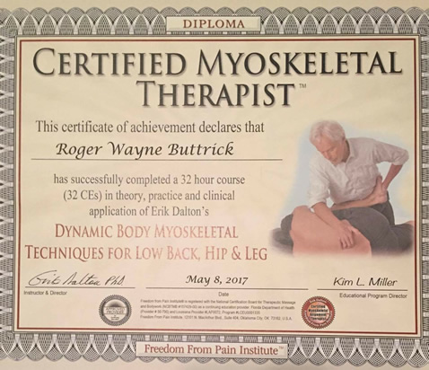 Certified Myoskeletal Therapist